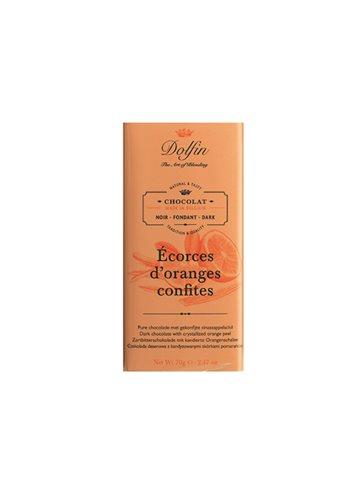 Zwarte Chocolade Gekonfijte Sinaasappels 70g