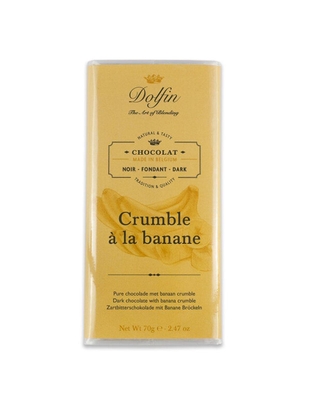 Zwarte chocolade 60% met bananencrumble 70g