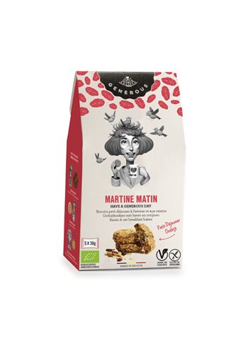 Martine Matin  zachte ontbijtkoeken haver & rozijnen BIO 5x30g