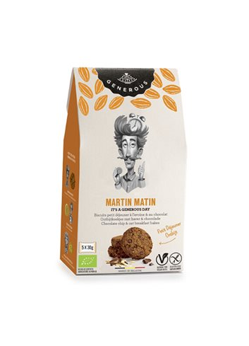 Martin Matin  zachte ontbijtkoeken haver & chocolat BIO 5x30g